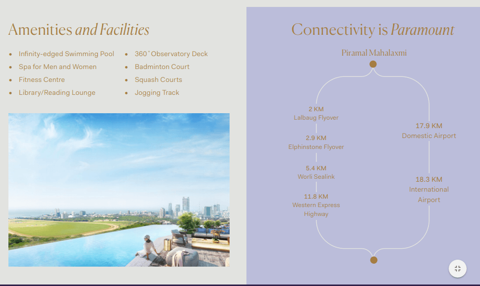 Piramal Mahalaxmi Mumbai project amenities and facilities Call 9958959555