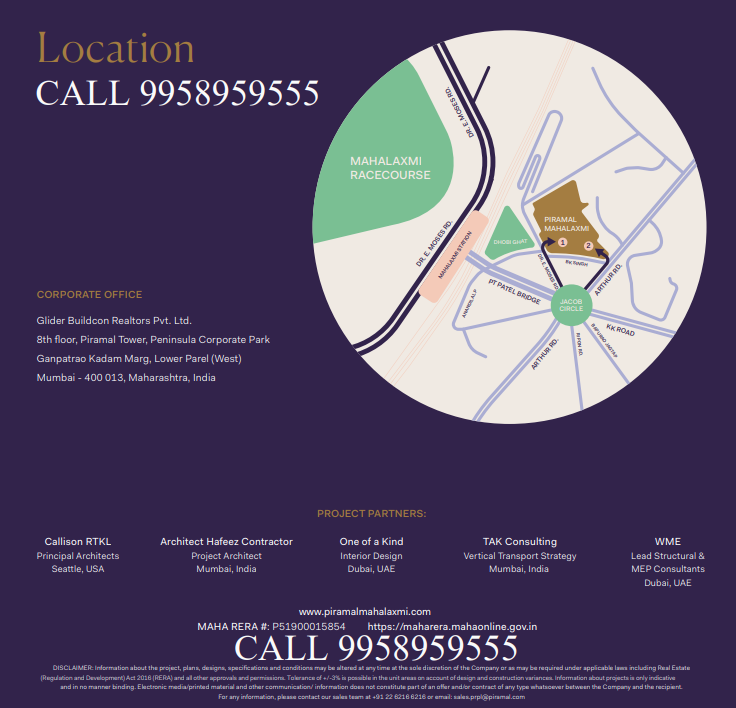 Piramal Mahalaxmi Mumbai project location Call 9958959555