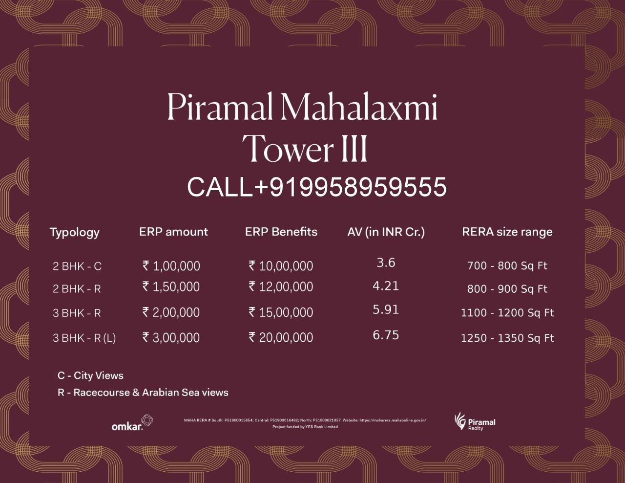 Piramal Mahalaxmi Final Tower III North Tower call 9958959555 EOI PRICE